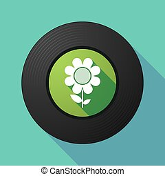 Vinyl record with a flower