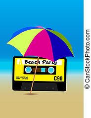 parti, strand, affisch