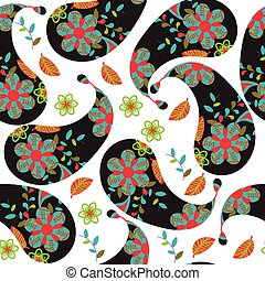 Colorful dark Paisley seamless pattern and seamless pattern in swatch menu, vector illustration. Cute texture for print and web