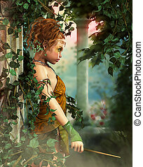 Little Fairy with a Wand, 3d CG - 3D computer graphics of a...