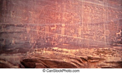 1972: Alien cave drawings of human - Unique vintage 8mm film...