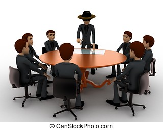 3d man giving presentation in business meeting in zorro...