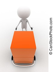 3d man carrying orange box with the help of trolly on white...