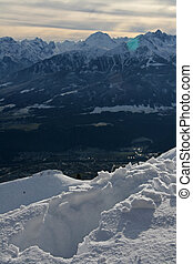 Winter at the Alps - View from 1.905m altitude at the...