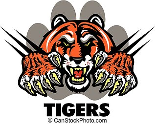 tigers design with tiger mascot and claws