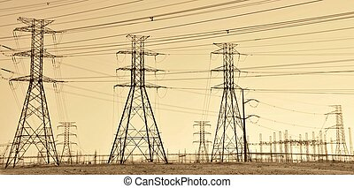 Power lines - Landscape with power lines at sunrise