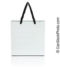 white paper bag on white background