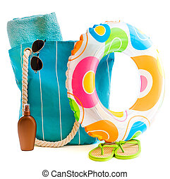 beach accessories - bag with beach accessories isolated on a...