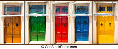 five colourful front doors to houses - photo collage of five...