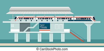 Sky train Station Flat Design Illustration Icons Objects -...