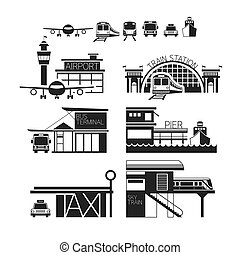 Mode of Transport Illustration Icons Objects Monochrome -...
