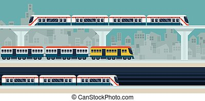Train, Sky Train, Subway, Illustration Icons Objects -...