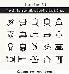 Transportation Booking Line Icons Set - Linear Design Style...
