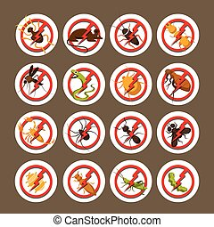 Pests, Insects, Bugs, Prohibition and Repellent Signs -...