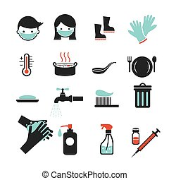 Health and Sanitation Icons Set - Cleanness, Contagious...
