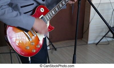 man playing guitar - guy playing electric guitar les paul