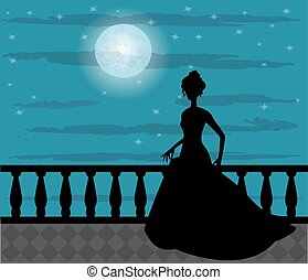silhouette of a woman in the night - silhouette of a woman...