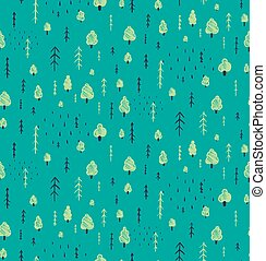 Forest Hand Drawn Seamless Pattern Background. - Wallpaper...