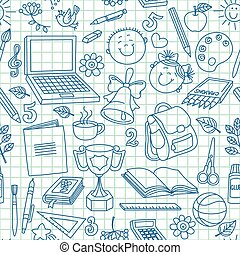 Exercise book drawings seamless pattern.