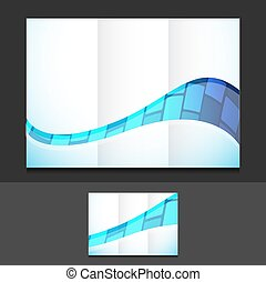 tech trifold template illustration design over a grey...