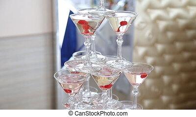 Pyramid holiday glasses at wedding - Pyramid holiday glasses...