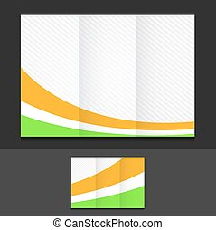 orange white and green trifold template illustration design...
