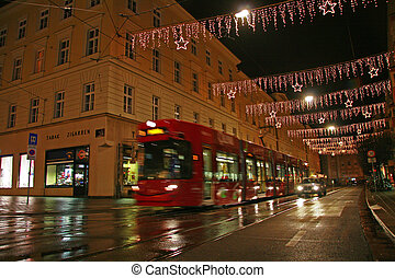 Night view of Innsbruck at Xmas