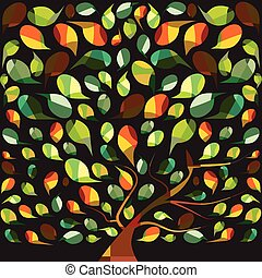 colorful tree - a vector illustration of a mosaic style tree...