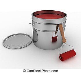 Open bucket with red paint and roller 3D render illustration...