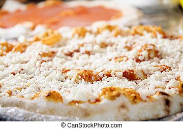 neapolitan pizza with mozzarella and tomato sauce just taked...