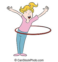 Girl and Hula Hoop Cartoon - An image of a cartoon girl...