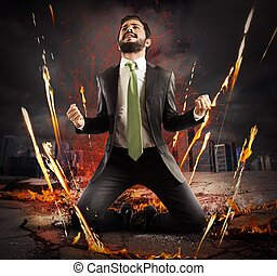 Businessman rejoices triumphantly on a city collapsing