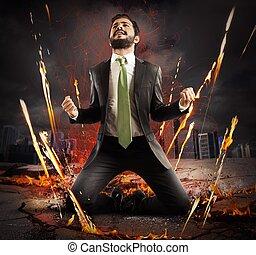 Businessman rejoices triumphantly