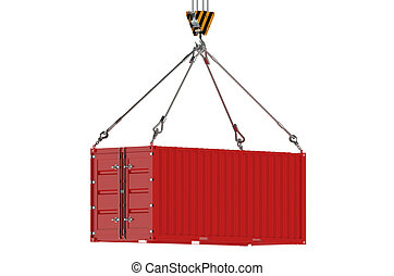 Crane hook and red cargo container
