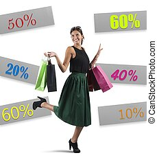 Shopping with sale - Cheerful girl go to shopping with sale