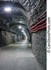 Underground mine tunnel in famous Wieliczka Salt Mine,...