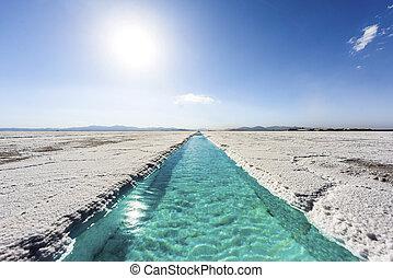 Water pool on Salinas Grandes Jujuy, Argentina - Salt water...