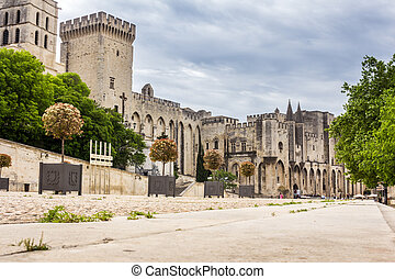 Popes Palace in Avignon, France, Europe - Construction of...