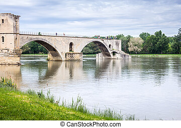 Famous bridge in Avignon with tourist, France, Europe
