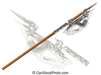 fantasy halberd isolated on a white background.