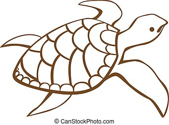 Stylized turtle Hand Drawn doodle vector illustration