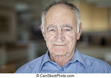 Closeup Of A Senior Man Smiling - Kitchen, Businessman, 80...
