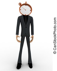 3d man with head of clock concept