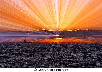 Sailboat Sunset Journey - Sailboat sunset journey with a...