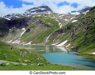 alpine reservoir near Gorner Glacier - alpine bule reservoir...