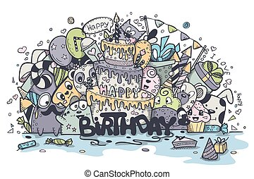 Illustration greeting card birthday of the colored doodles. Set 3