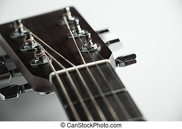 Acoustic guitar headstock - Closeup shot photo of the...