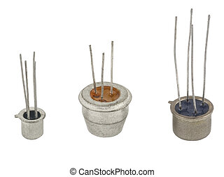 transistors - the different transistors on a white...