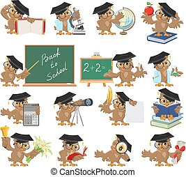 Big set of teacher owl. Isolated illustration in vector...