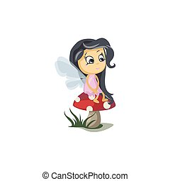 Little Fairy Sitting on a Mushroom